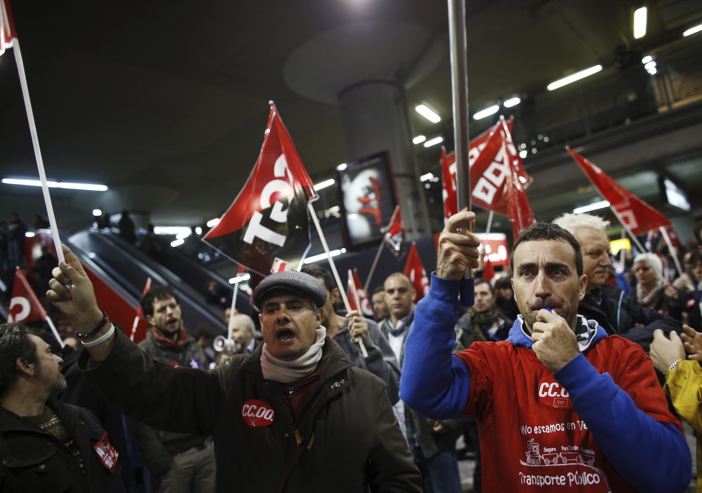 Испанский забастовщики в Мадриде 14 ноября 2012