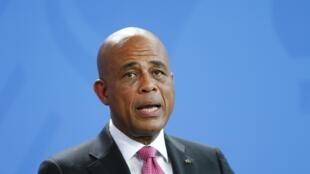 Michel Martelly (ici en octobre 2014) a nommé Evans Paul au poste de Premier ministre.