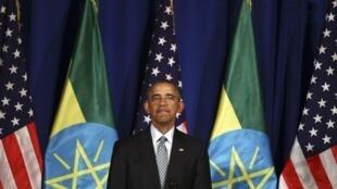 Le président américain Barack Obama lors du premier jour de sa visite en Ethiopie, le 27 juillet 2015.