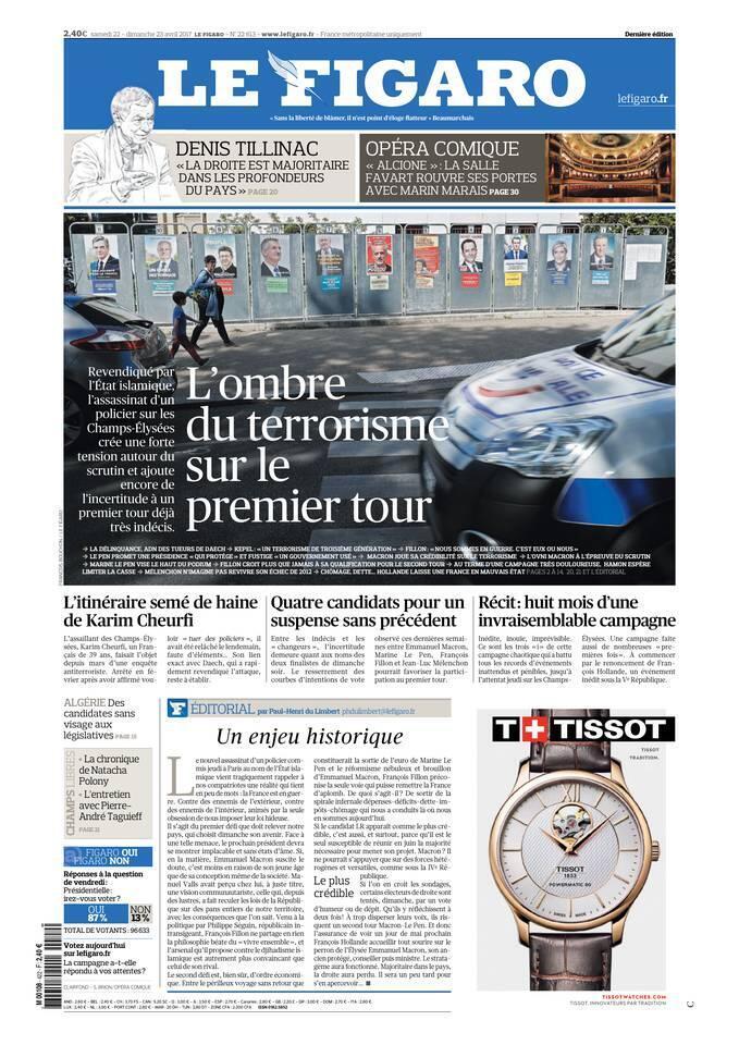 """صفحه اول روزنامه """"فیگارو"""". ٢٢ آوریل ٢٠۱٧"""