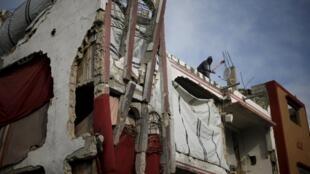 A damaged house east of Gaza City.