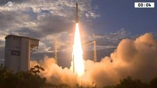 A stil from an Arianespace video shows the launch of the Aeolus from French Guyana