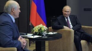 白俄羅斯總統盧卡申科2021年5月28日訪問俄羅斯會見俄羅斯總統普京。