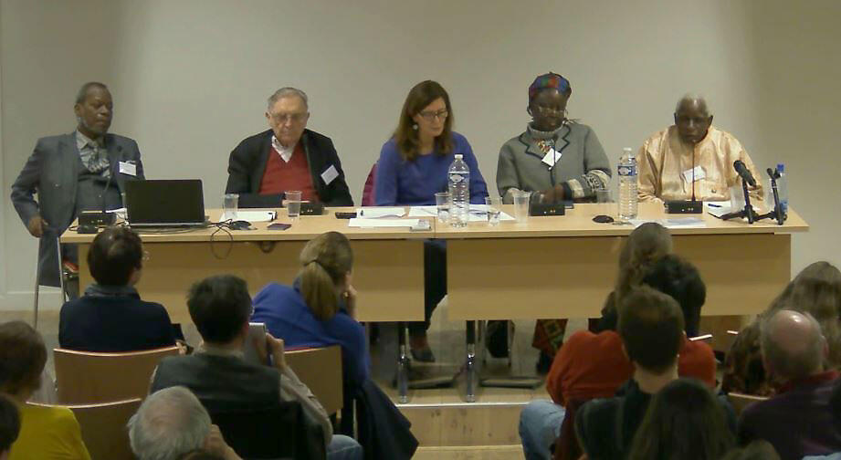 De gauche à droite : Robert Dossou, Roland Colin, Valérie Nivelon, Alice Mbadiagana et Amadou Traoré.