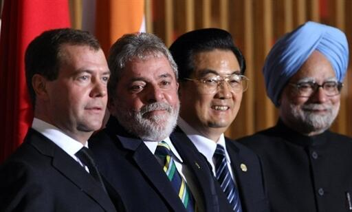 Os líderes dos quatro países do BRIC: Dmitri Medvedev, Luiz Inacio Lula da Silva, Hu Jintao e Manmohan Singh.