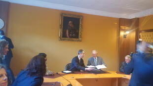 Gilles Tonelli, ministre monégasque des relations extérieures et de la coopération (à gauche) et Jean-Michel Severino, Président d'I&P (à droite), le 15 janvier 2019 à Monaco.