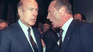 Valéry Giscard d'Estaing (g) et Jacques Chirac, lors d'un des derniers meetings de campagne, avant le second tour de la présidentielle de mai 1988.