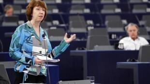 La haute représentante pour la politique extérieure de l'UE, Catherine Ashton au Parlement européen de Strasbourg, le 11 septembre 2012.
