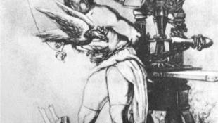 کارل مارکس در هیئت پرومته: کرکسی که جگر او را میدرد، نماد سانسور دولت پروس است