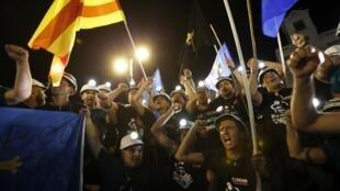 Mineiros espanhóis protestam na Porta do Sol, em Madri, nesta quarta-feira.