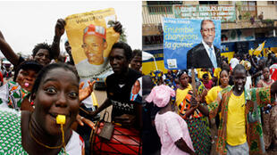 A gauche, des supporters de Cellou Dalein Diallo candidat de l'Union des Forces Démocratiques de Guinée (UFDG), à droite des supporters de Alpha Condé, leader du Rassemblement du peuple de Guinée (RPG).