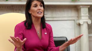 l'ambassadrice américaine à l'ONU, Nikki Haley annonce sa démission dans le bureau oval de la Maison Blanche à Washington, le 9 octobre 2018.