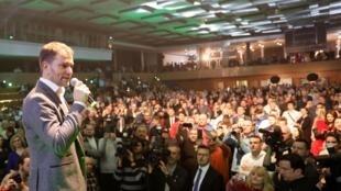 Le leader du parti OLaNO, Igor Matovic, s'adresse à ses partisans, à Trnava, en Slovaquie, le 29 février 2020.