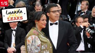 Isabel dos Santos et son mari Sindika Dokolo sur les marches du palais des festivals, à Cannes, en France, le 14 mai 2018.