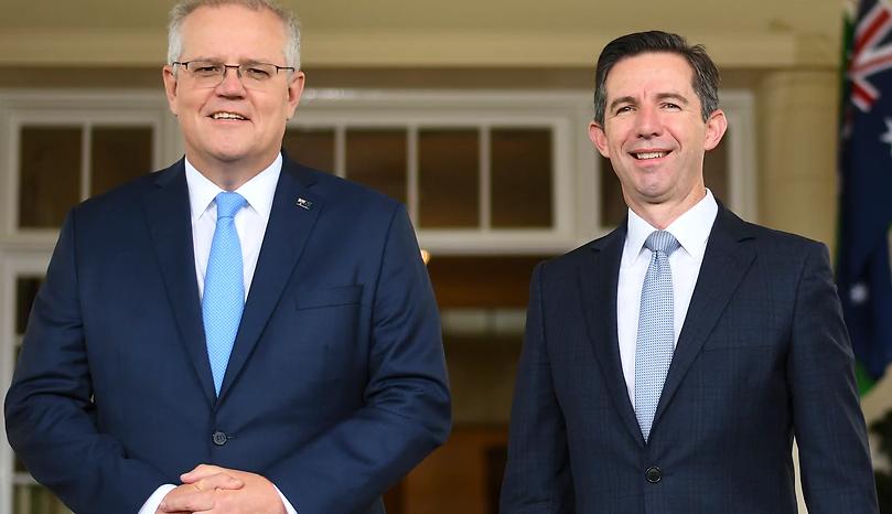澳大利亞總理莫里森與貿易部長伯明翰資料圖片