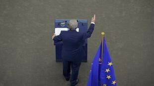 Jean-Claude Juncker face au Parlement européen, le 14 septembre. Le président du Conseil européen a plaidé pour une Europe plus sociale et a promis de continuer à lutter contre le chômage.