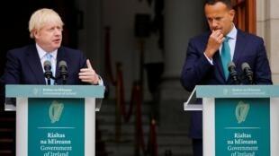 Britain's Prime Minister Boris Johnson (L) speaking in Dublin next to Ireland's Prime Minister, Taoiseach, Leo Varadkar, September 9, 2019.