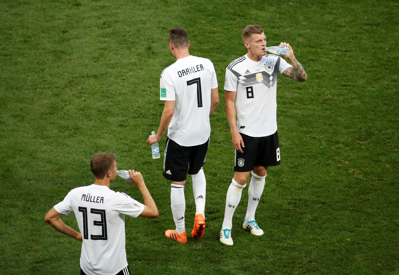 I tedeschi storditi dopo la sconfitta contro il Messico (1-0), 17 giugno 2018.