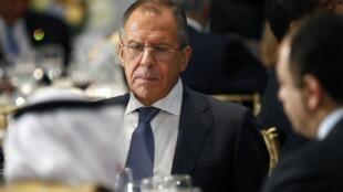 Министр иностранных дел России Сергей Лавров на ланче, организованном Генеральным секретарем ООН Пан Ги Муном, Нью-Йорк, 24 сентября 2014 г.