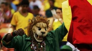 Fan des Lions indomptables, ce supporter de l'équipe du Cameroun porte un masque du fauve emblème de leur équipe.