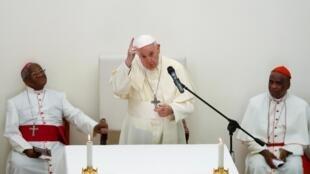 O papa Francisco durante missa em Antananarivo, Madagascar. 07/09/2019