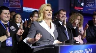 A presidente da Croácia, Kolinda Grabar-Kitarovic, que conquistou menos de 27% dos votos no primeiro turno.