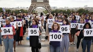 Protesters outside the Eiffel Tower in September mark the 100th domestic violence death in France.