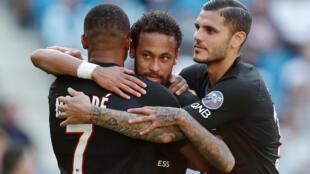 Kylian Mbappé, Neymar et Mauro Icardi lors du match amical du PSG au stade Océane contre Le Havre, le 12 juillet 2020.