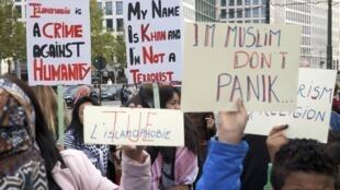 Marcha contra a islamofobia também foi realizada em outras cidades, como em Bruxelas.