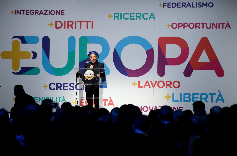 A ex-comissária europeia Emma Bonino fala durante a apresentação do programa eleitoral do partido +Europa, em Roma, no dia 3 de fevereiro de 2018.