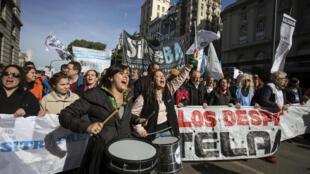 Manifestation d'employés de la Telam à Buenos Aires, le 27 juin 2018.