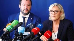 Líderes da extrema direita italiana e francesa em encontro em Roma, 8/10/2018