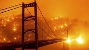 Golden Gate, em São Francisco, num cenário de incêndios que vêm destruindo a Califórnia (9/9/20).