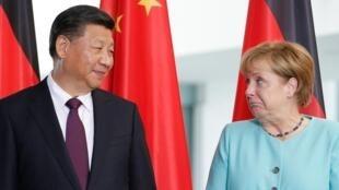 中国国家主席习近平与德国总理默克尔资料图片