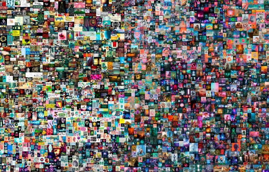« Everydays: The First 5 000 Days » (détail), œuvre numérique de l'artiste américain Mike Winkelmann alias Beeple, vendu le 11 mars 2021 chez Christie's pour 69,3 millions de dollars.  © Handout / CHRISTIE'S AUCTION HOUSE / AFP