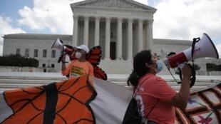 Manifestation de joie devant le tribunal de Washington après la décision de la Cour suprême en faveur des «dreamers», le 18 juin 2020.