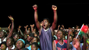 Kaboré supporters celebrate during the proclamation of results in Ouagadougou