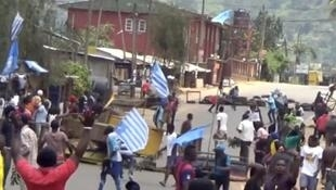 Protesters at a road block in the English-speaking city of Bamenda in Cameroon.