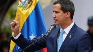 Lãnh đạo đối lập Juan Guaido trong một cuộc tập hợp với các ủng hộ viên tại Caracas ngày 19/04/2019.