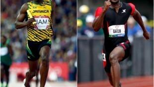 Vô địch Usain Bolt (trái) và vận động viên Mỹ Justin Gatlin. - REUTERS