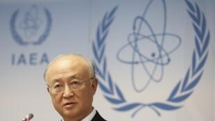 Yukiya Amano, le directeur général de l'Agence internationale de l'énergie atomique lors de la conférence des Etats membres de l'AIEA à Vienne le 15 septembre 2014 et où la Russie a annoncé qu'elle équiperait en nucléaire l'Afrique du Sud.