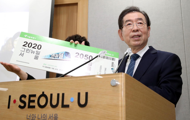 韓國首爾市長樸元淳 攝於2020年7月8日 Park Won-soon à la mairie de Séoul, le 8 juillet 2020.