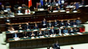 Le Premier ministre italien Giuseppe Conte présente le programme de son gouvernement avant le vote de confiance au Parlement à Rome, en Italie, le 9 septembre 2019.