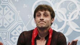 Le triple champion d'Europe et champion du monde 2007 Brian Joubert, à Sotchi, ce vendredi 14 février.
