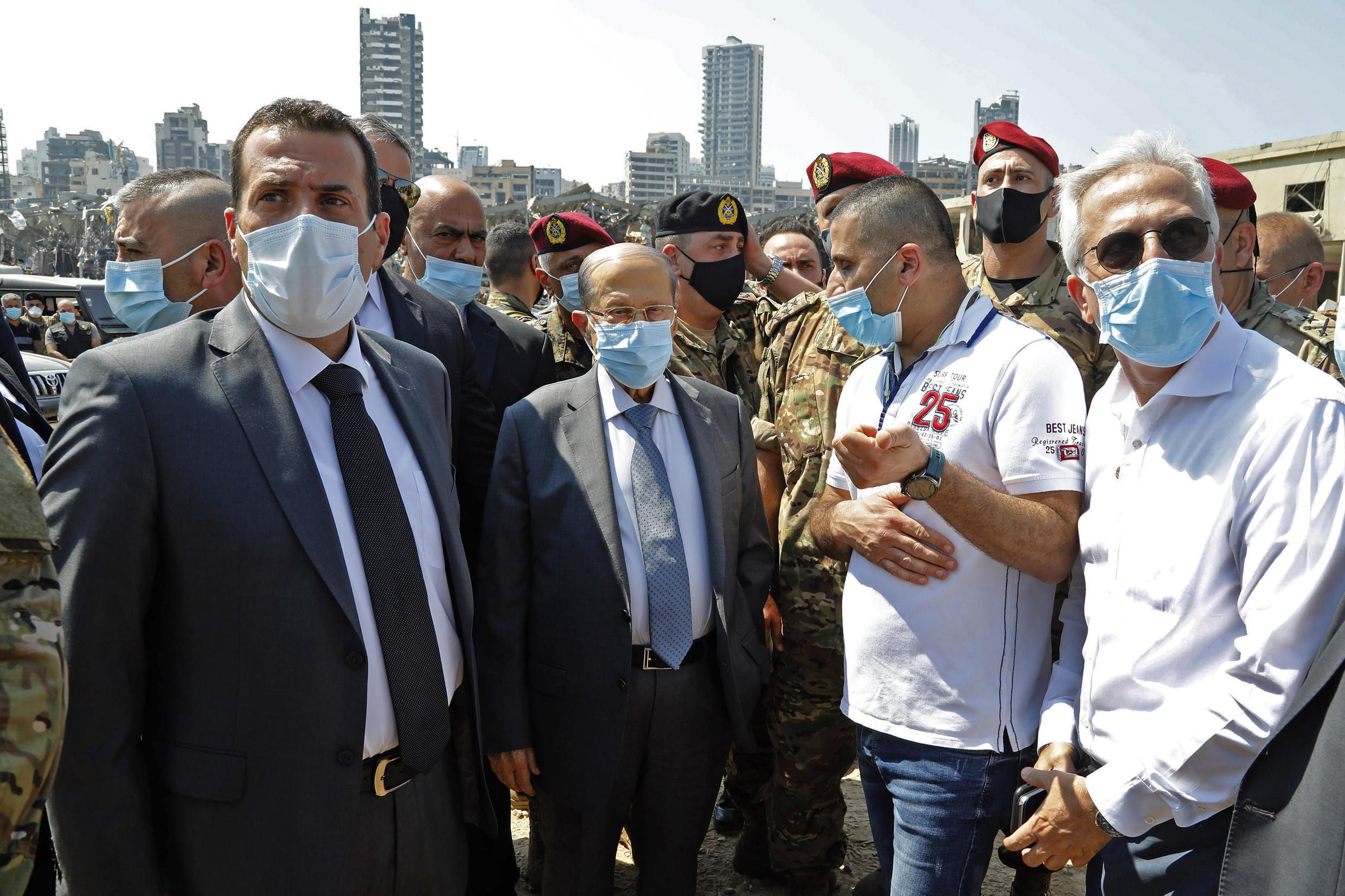President Michel Aoun visited the seat of the massive blast but he and the rest of Lebanon's political class face angry questions over how a shipment of highly explosive fertiliser could have been left stored for years in the heart of the city
