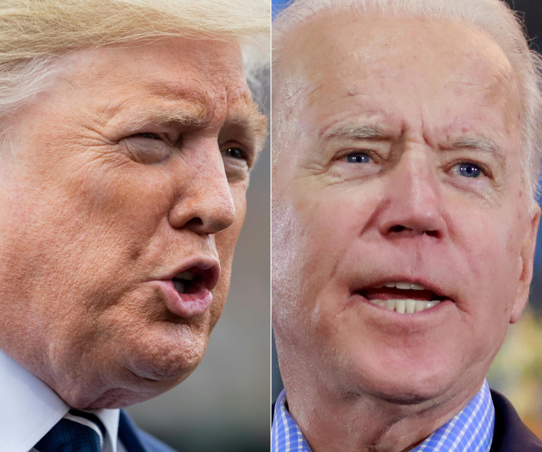 O presidente americano Donald Trump e seu rival democrata, Joe Biden, na eleição de 3 de novembro de 2020.