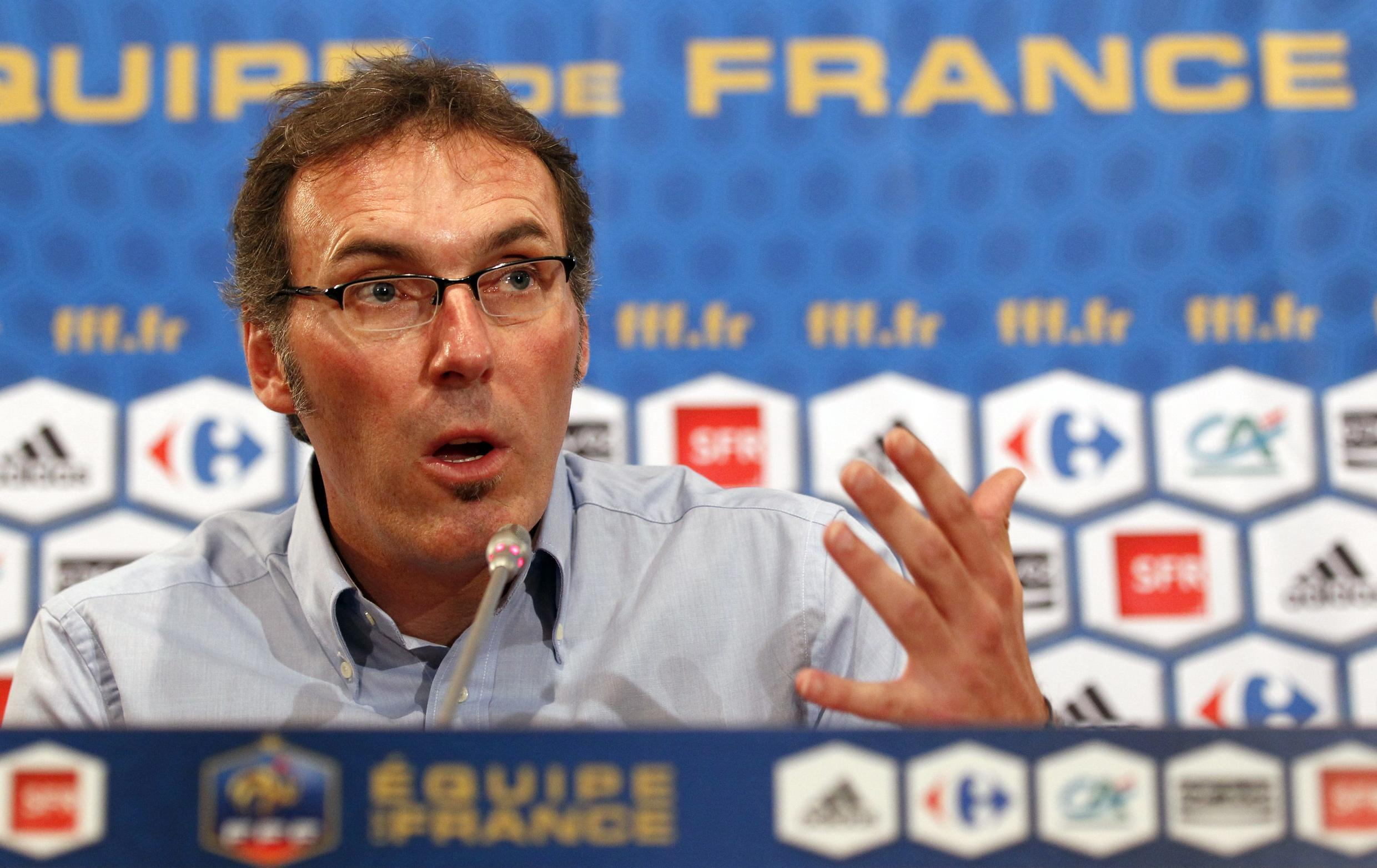 Laurent Blanc addressing his first news conference as coach on 6 July