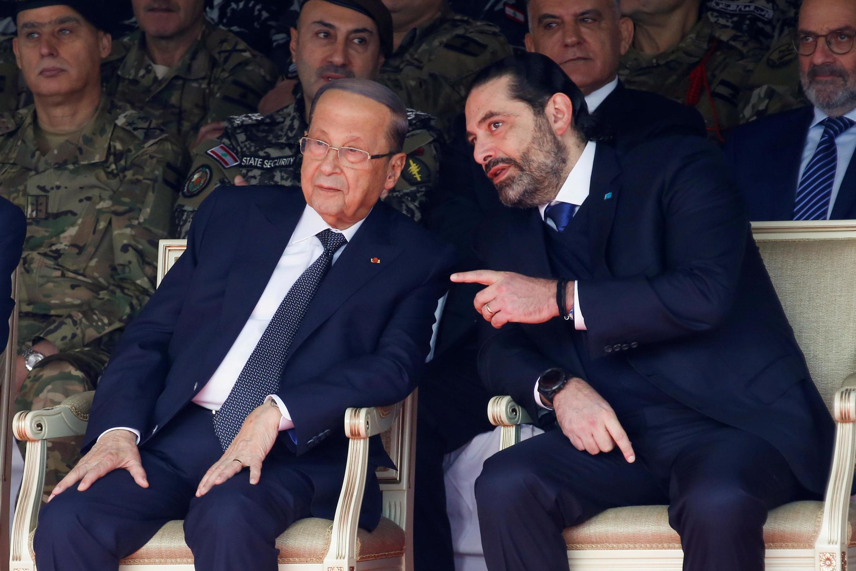 Waziri Mkuu aliyejiuzulu Saad Hariri pamoja na Rais wa Lebanon Michel Aoun, Novemba 22, 2019.