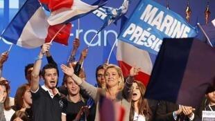 Marine Le Pen, durante un acto en Palavas Les Flots, el 15 de marzo de 2012.