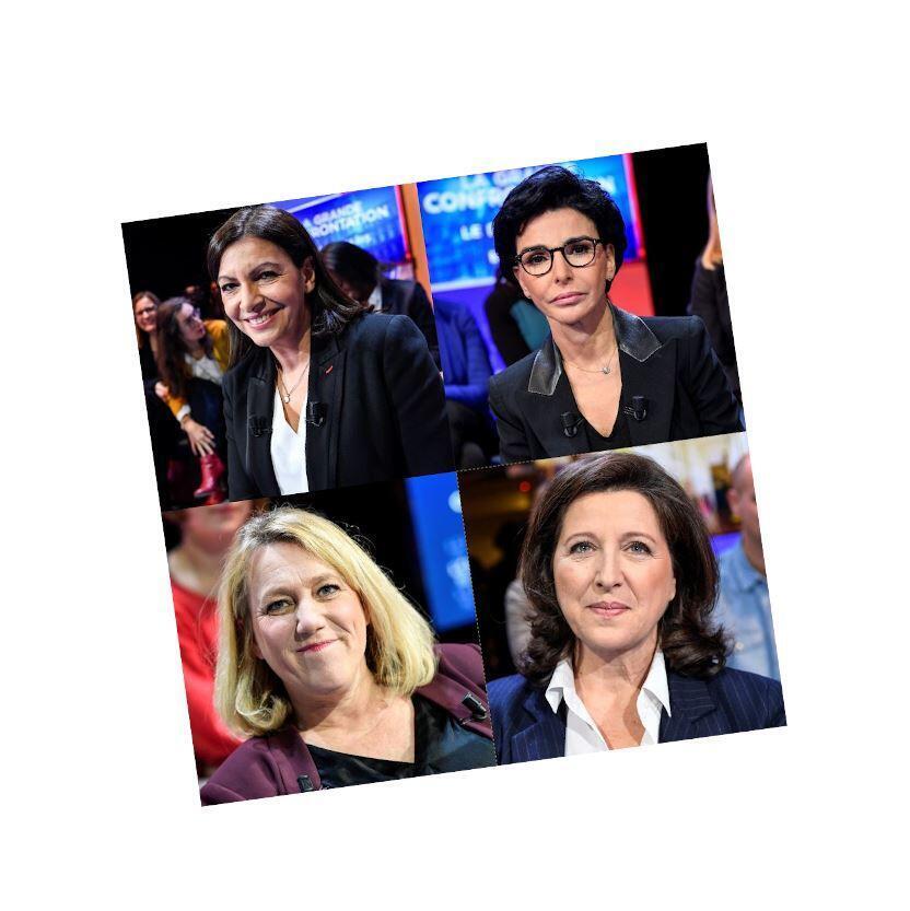 巴黎市長候選人當中的四位女性:左上:伊達爾戈;右上:達提;左下:西蒙內;右下:布贊